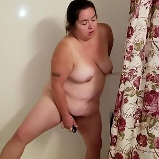Sexy BBW Uses Her Toy in the Shower