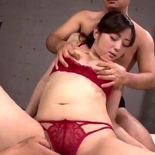 Lingerie babe Mizuki Ogawa takes two cocks in her holes