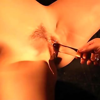 Magic wand massage, clito vacuum and pussy dildo for scrawling tie slave