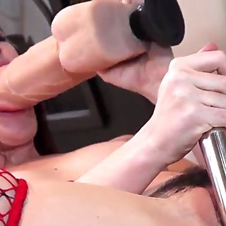 Gonzo babe toying her pussy with huge dildo