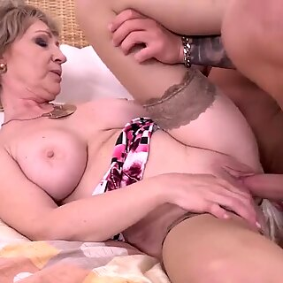 Taboo home sex with busty mature mom and son
