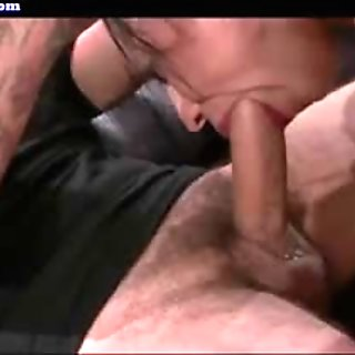 Tied up bitch with huge clit sucking big dong