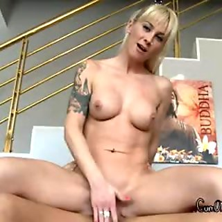 He gets sucked then she rides reverse while rubbing her clit