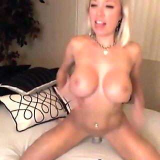 Hot Busty Blonde Rides Big Dildo HD