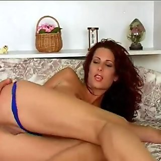 sexy solo brunette girl with yummy pussy and very big clit