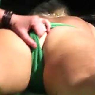 Pissing lesbo rubs clit