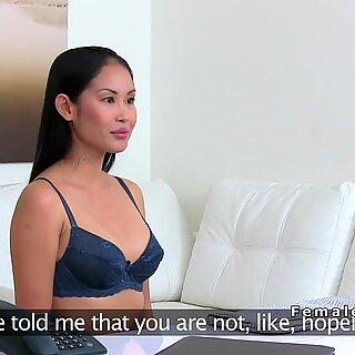 Petite Asian lesbian licks female agent
