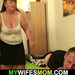 Fat girlfriends mother riding his cheating dick