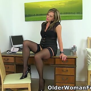 Office milf Silky Thighs Lou needs to get off on her desk