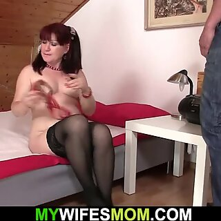 mom frolicking with huge dildo before riding his knob