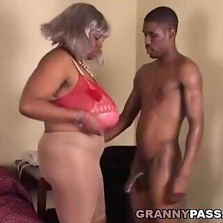 BBW Ebony Granny Takes Young big black cock