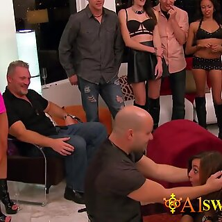 Swinger amateur ladies meet in the Red Orgy Room to play and explore new sexually adventures.