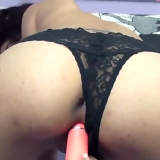 Sophia fucks her tight Latina twat with a dildo
