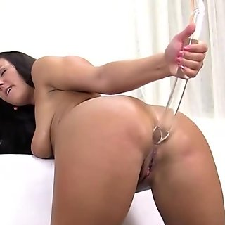 brunette babe with sweet boobs pleases her clitoris