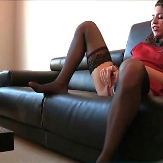 Pink lingerie and clit rubbing on a sofa movie 3