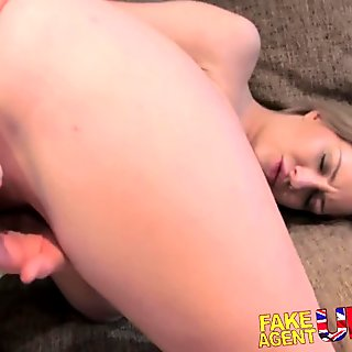 FakeAgentUK Second casting sees petite babe get anal creampie