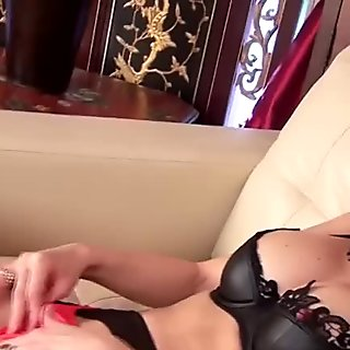 Lustful Asian milf uses her horny fingers to reach orgasm