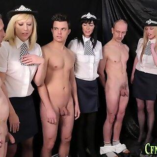 Clothed femdom spunks