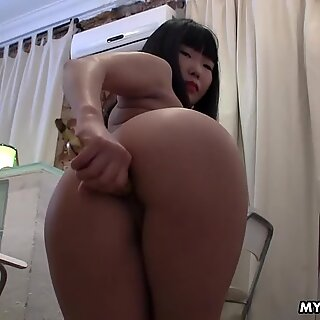 Jamming a banana in her ass to get off