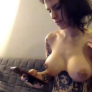 Tattooed big breast cute brunette, finger slams hairy pussy
