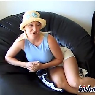 Busty pornstar toys her clit while fucking